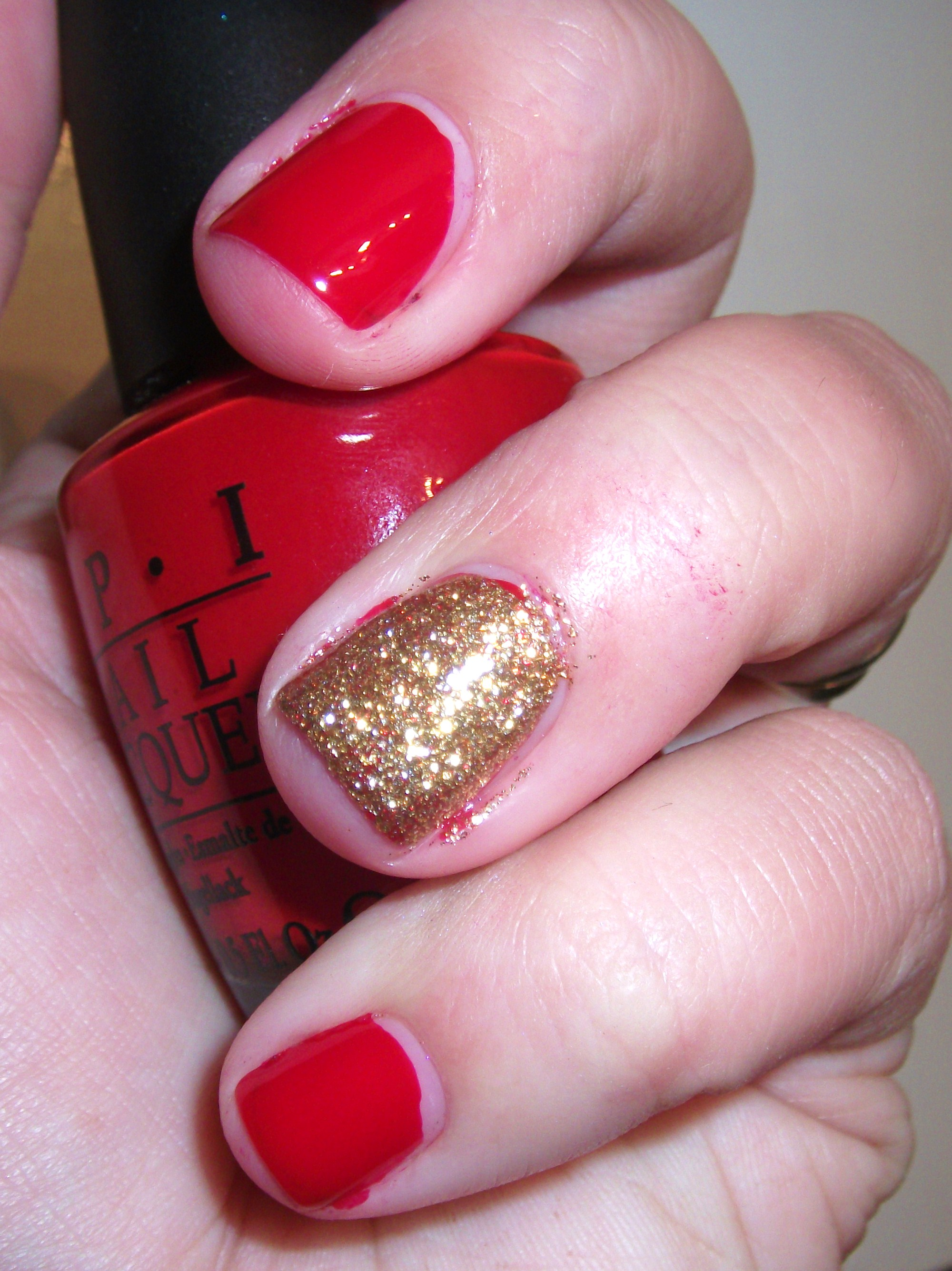 Red Holiday Nails and Red With Glitter Accent Nail | Polish Me, Please!