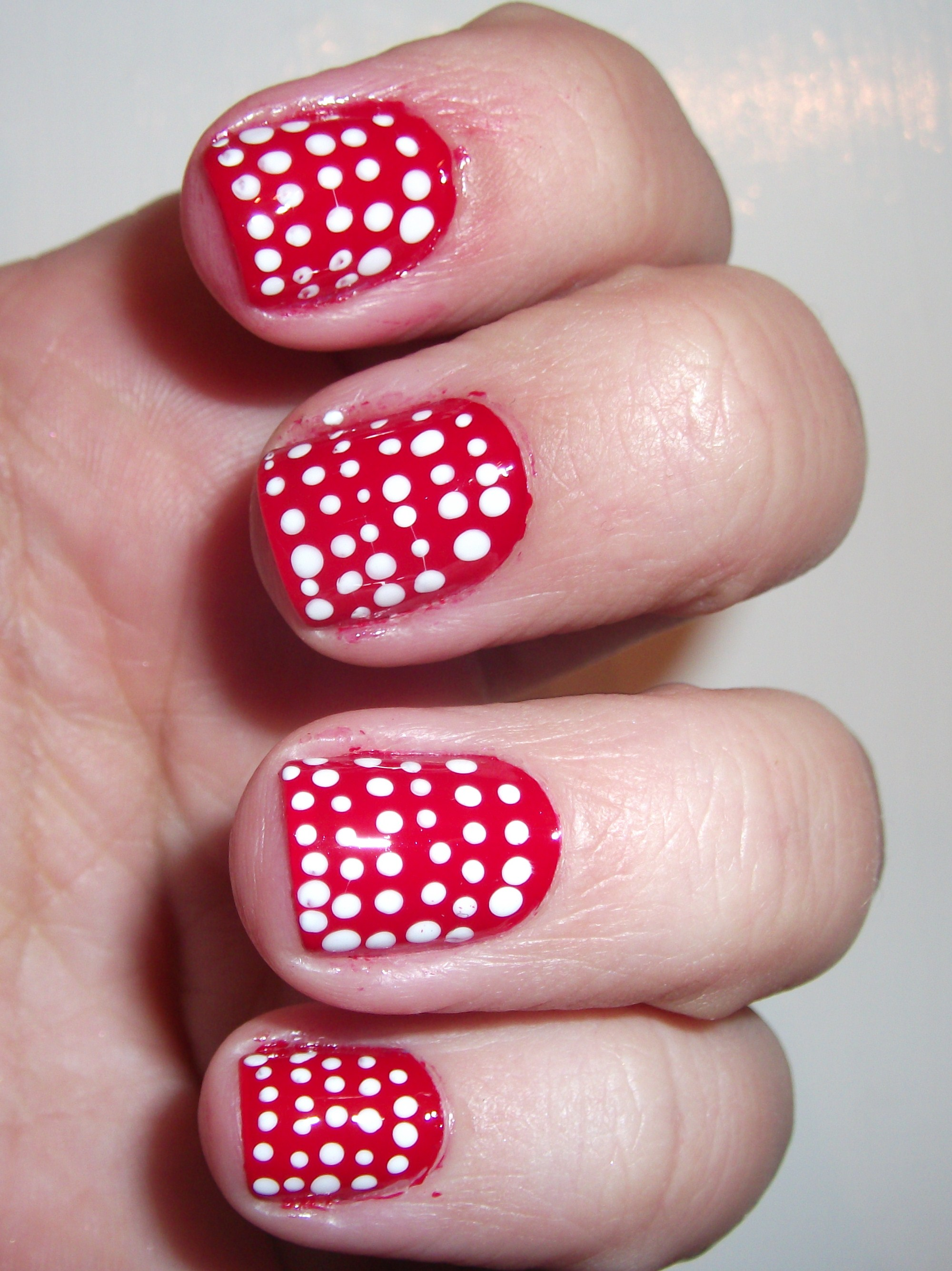 red with white polka dots | polish me, please!