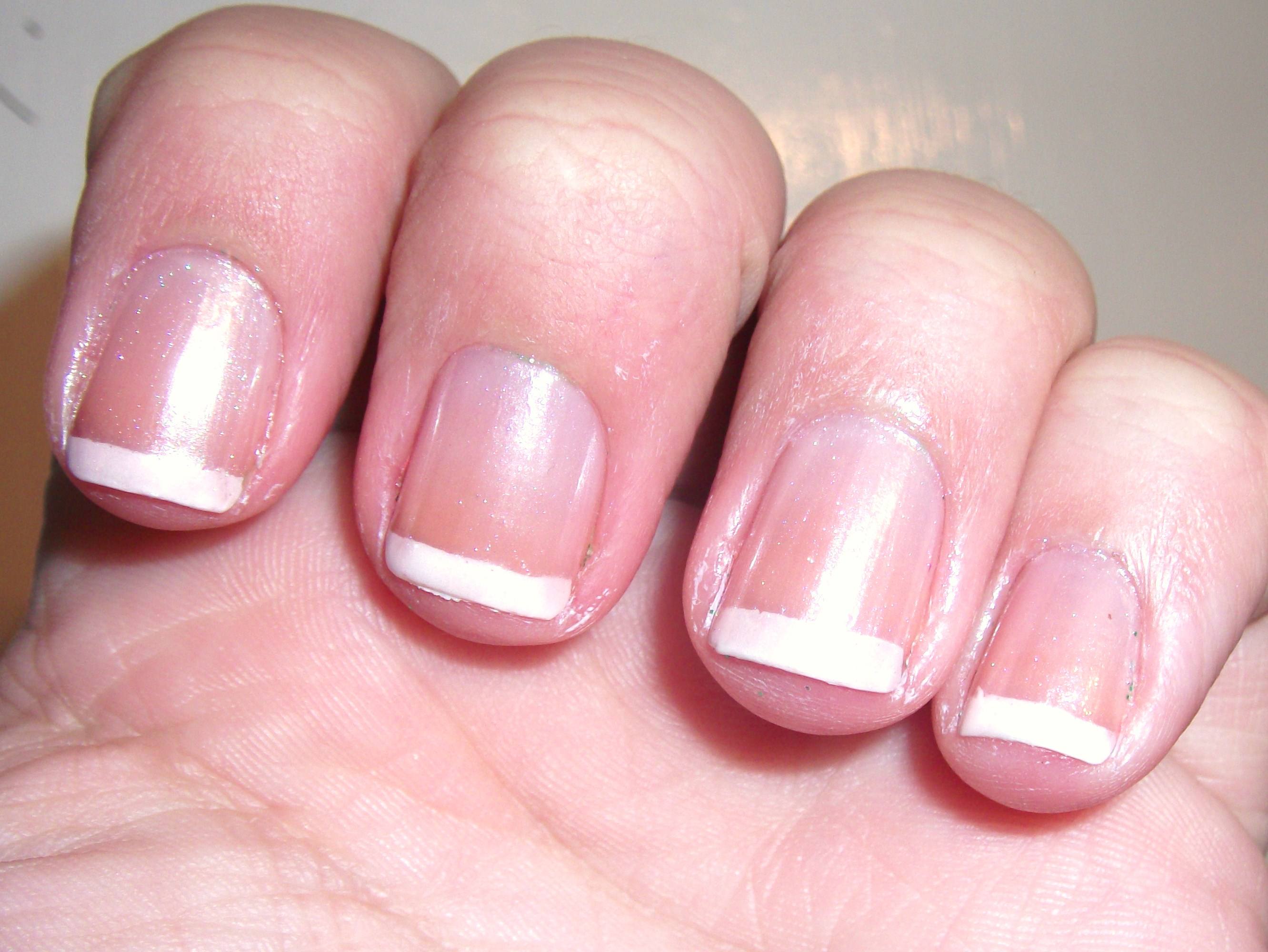 I Like This Look Okay But Would Really Prefer A Very Near Clear Pink Non Frosty Polish Is Little Too Pearly For Me