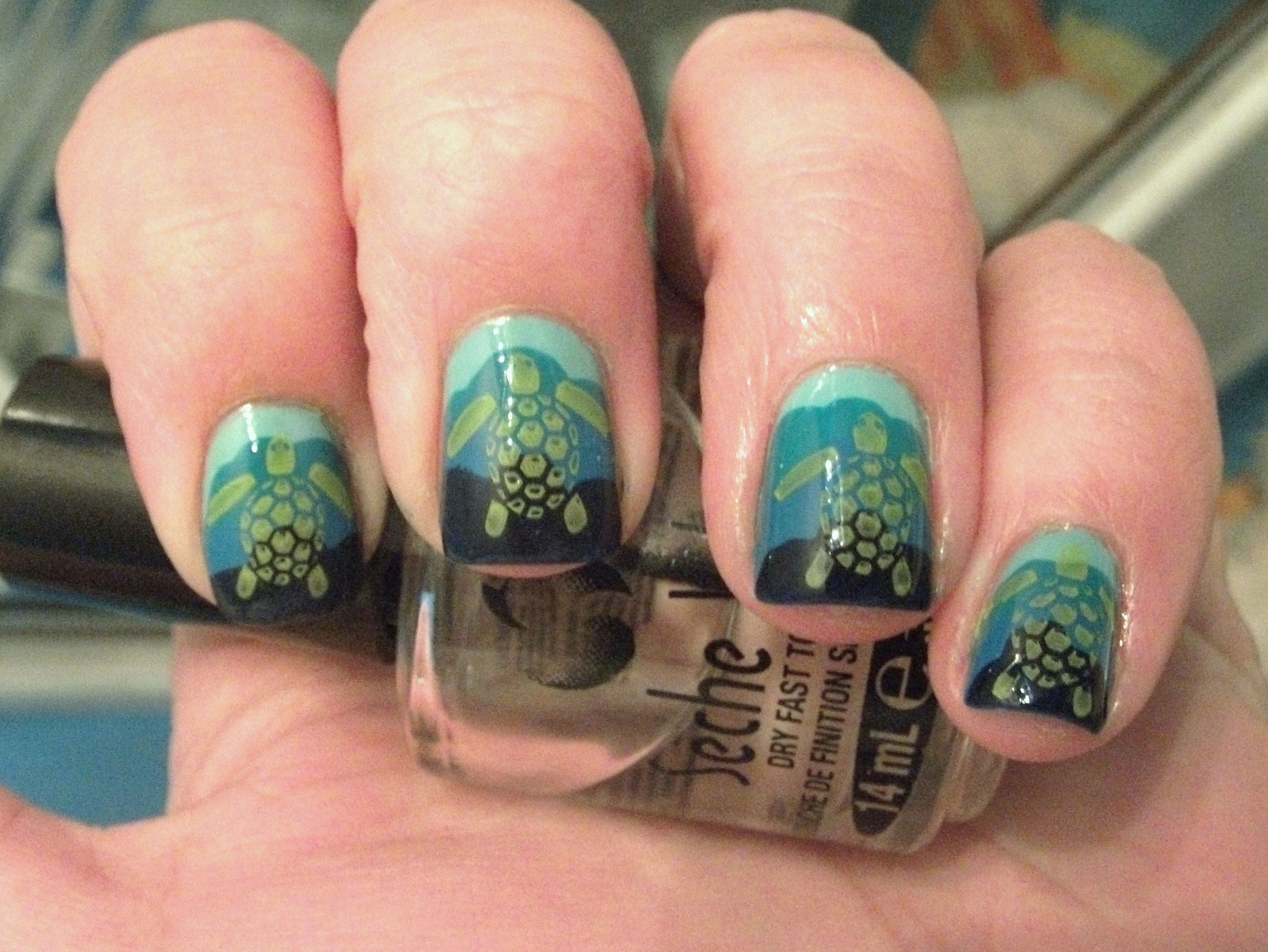 Sea turtle nails polish me please how to get these nails prinsesfo Images