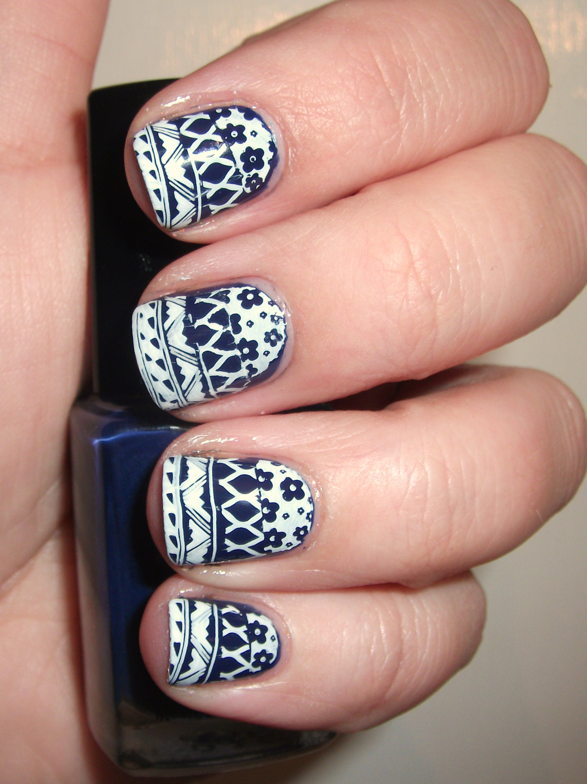 Navy mixed print nails polish me please navy mixed print nails prinsesfo Choice Image