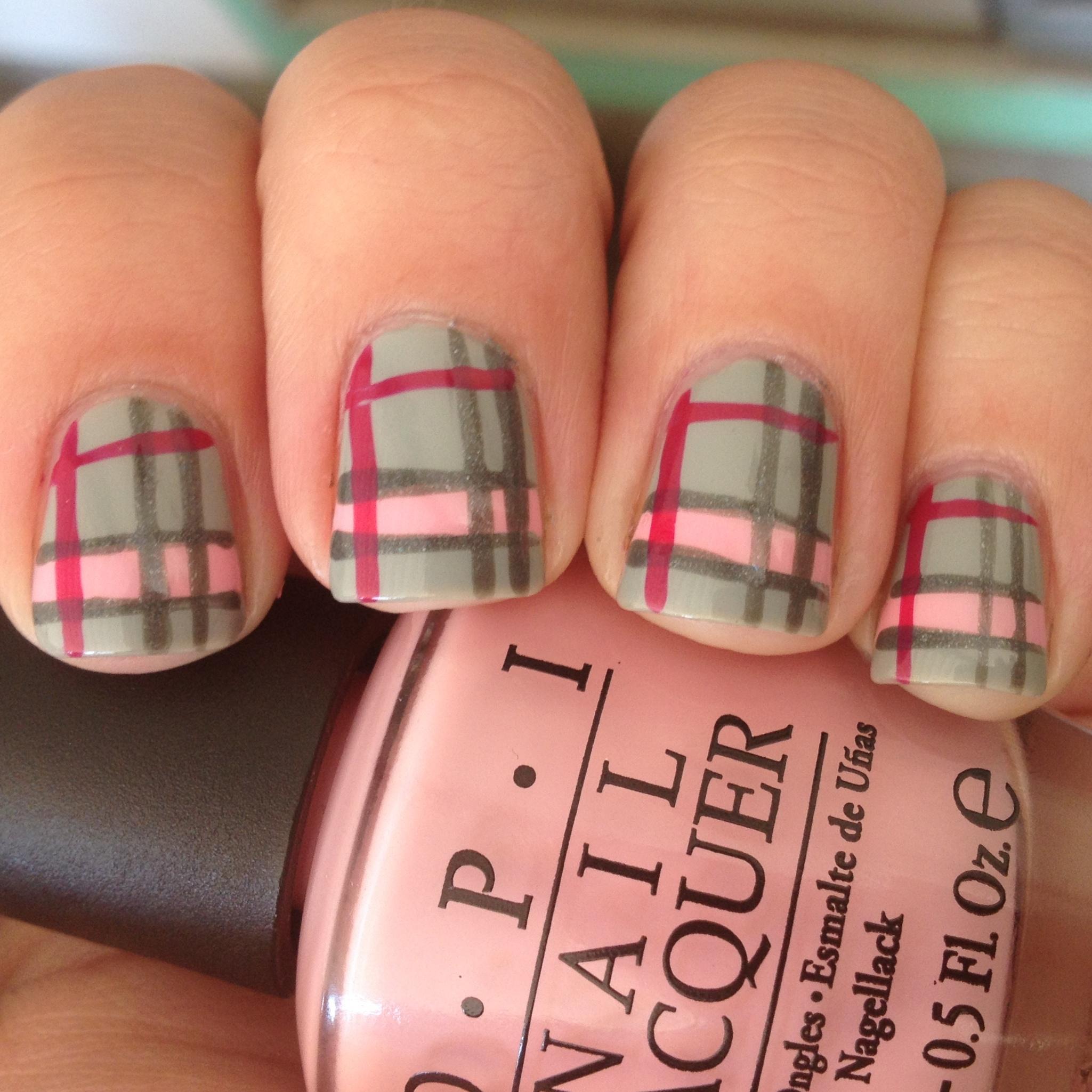 Polish Us Pink- Pink and Grey Plaid Nails | Polish Me, Please!