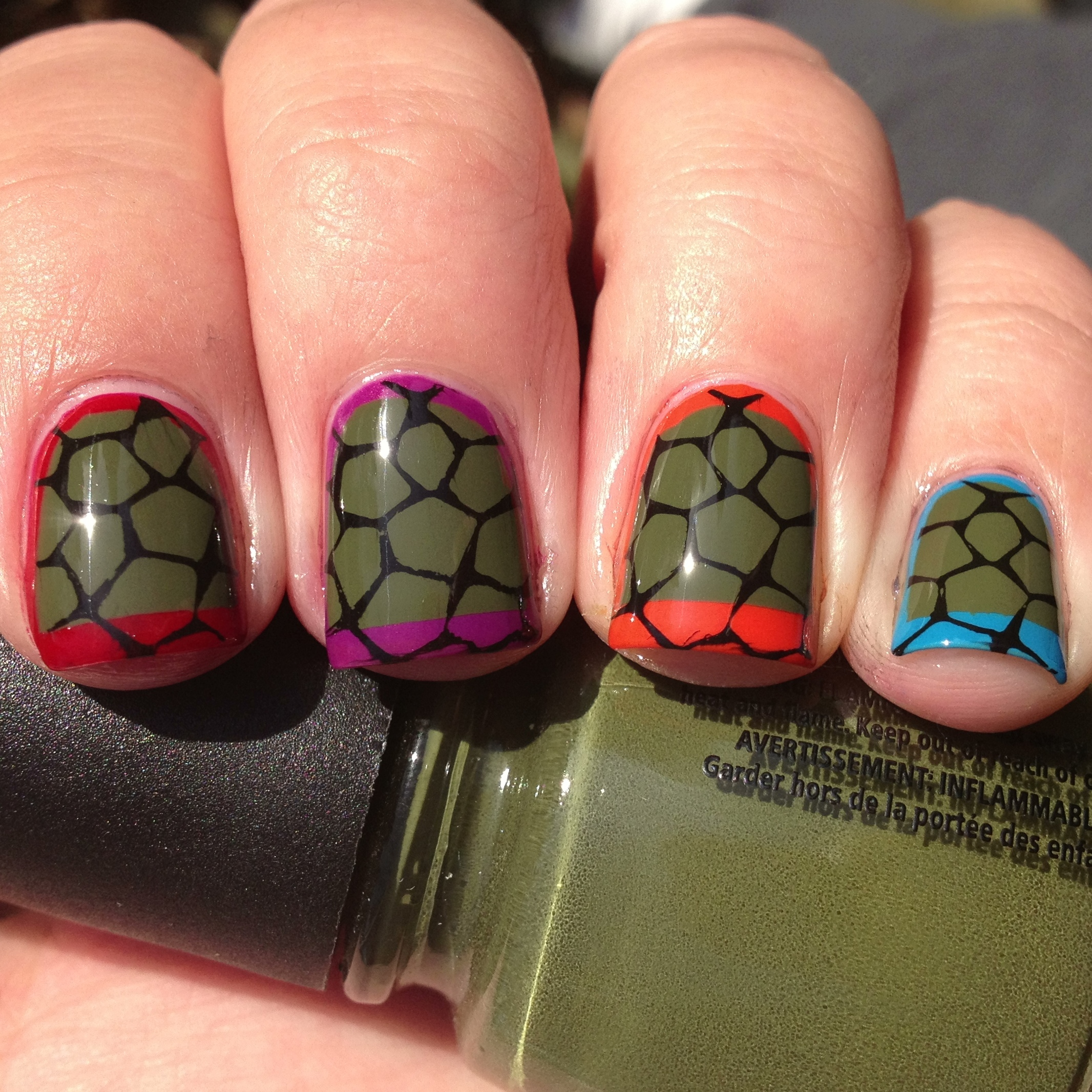 Day 26: Nails Inspired By A Video Game- Ninja Turtle Nails | Polish ...