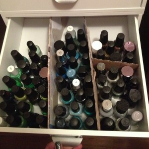 Drawer four holds greens, blues, blacks and greys.