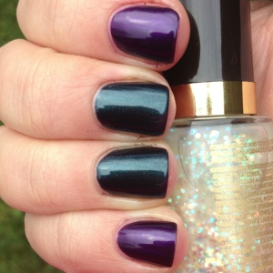 Just for reference, here are the base colors alone. The purple is Revlon Grape, the green is Essie Dive Bar
