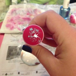 Look at your design and make sure it's complete. If it looks like this, clean your stamper and stamping plate with a remover-soaked cotton ball and start over.