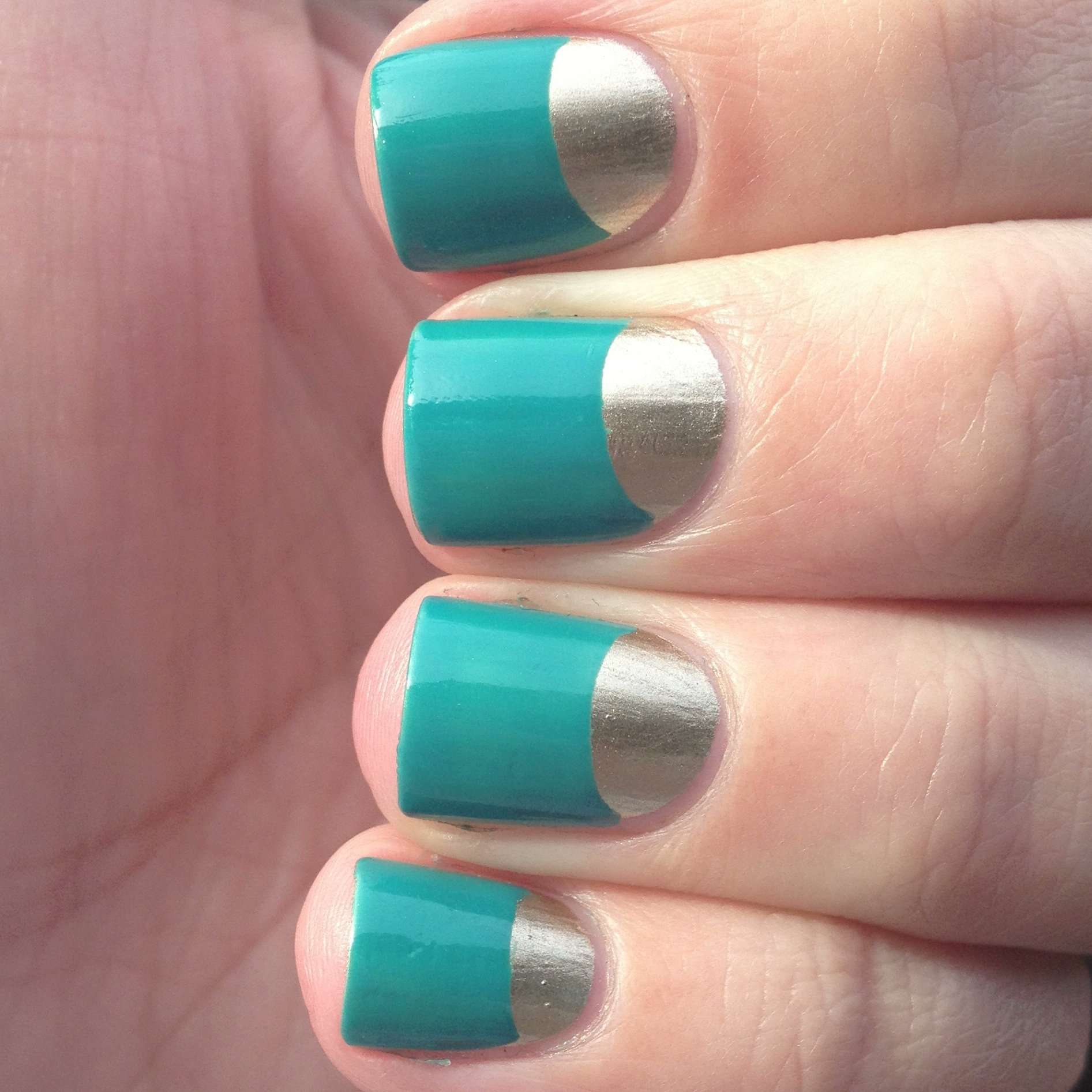 gold and turquoise half-moon nails (aka: my nearly nailed knockoff