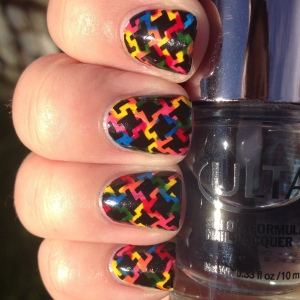 Rainbow Nails with Stamping (2)