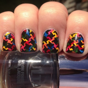 Rainbow Nails with Stamping
