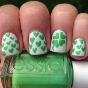 Lucky Hearts St. Patrick's Day Nails