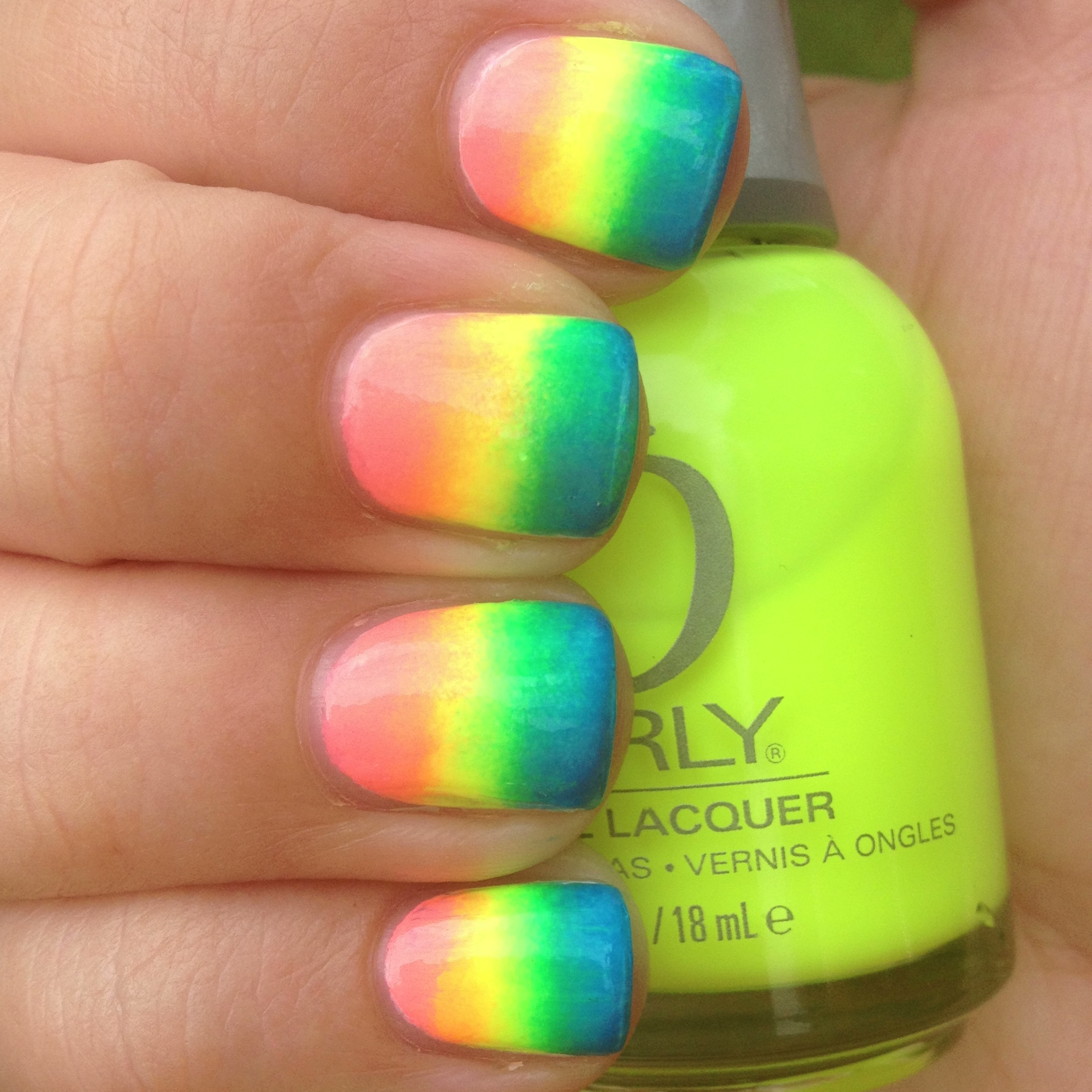 Neon Rainbow Gradient Nails | Polish Me, Please!