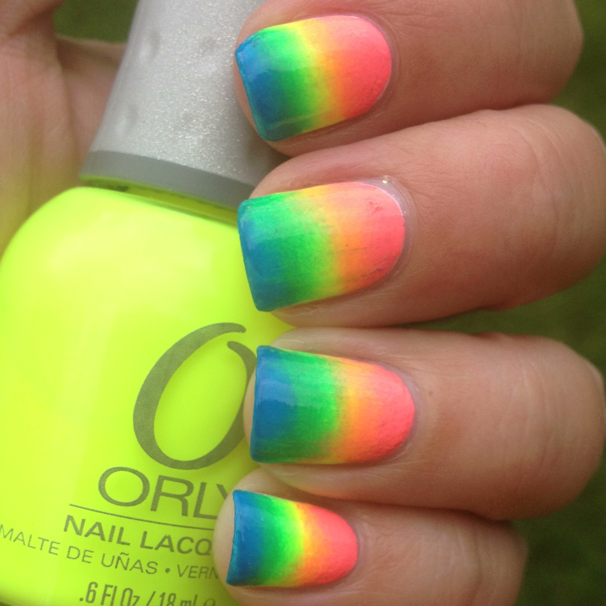 Neon Rainbow Gradient Nails | Polish Me, Please!