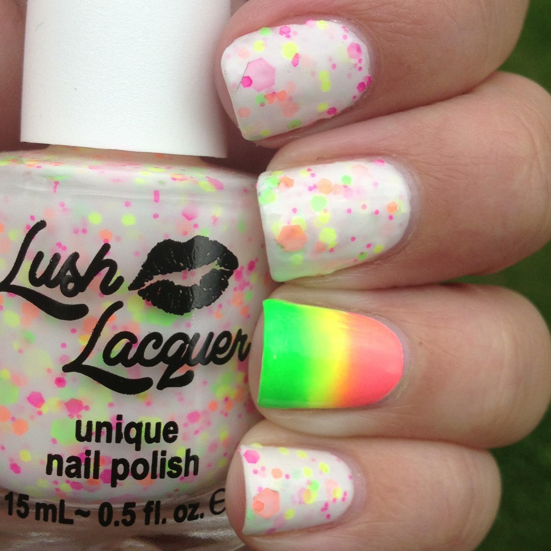 Lush Lacquer Neon Lights w a Neon Gradient Accent Nail | Polish Me ...