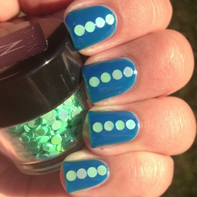 Turquoise Green 2.5mm Circle Glitter from kkcenterhk over FP Inkblot Blue