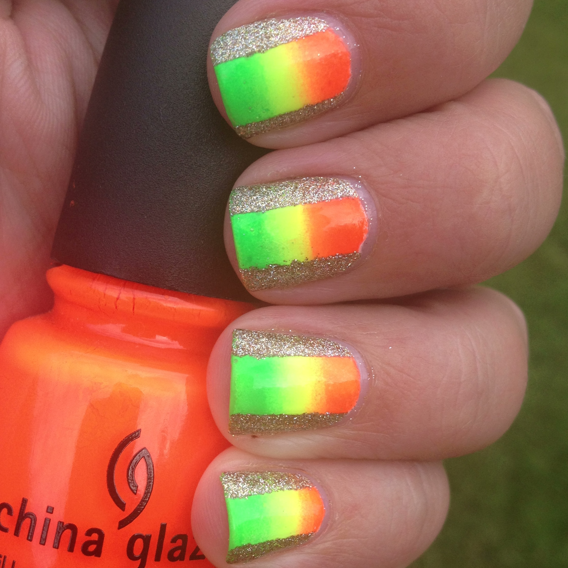 Neon and Glitter Color Blocked Nails | Polish Me, Please!
